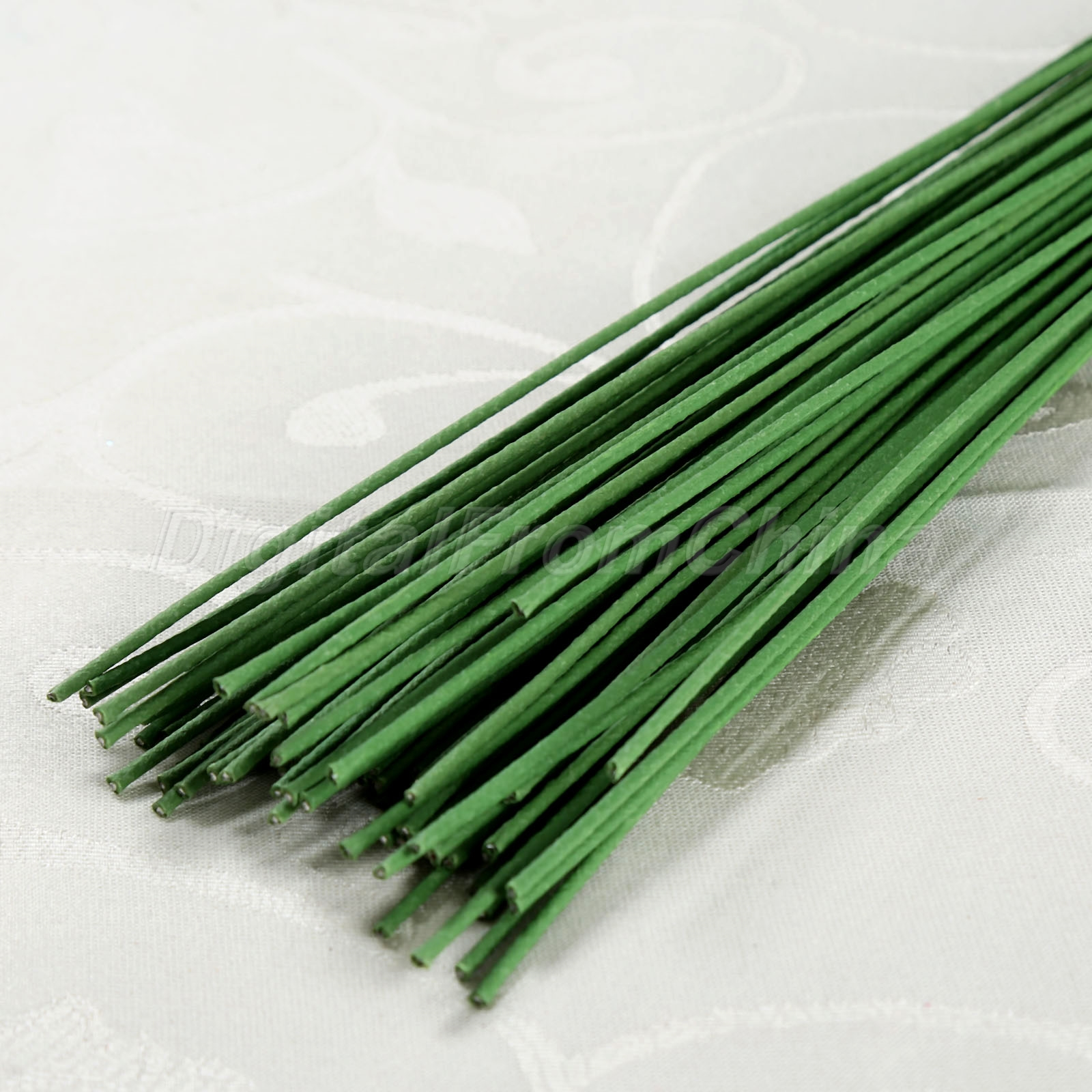 60cm Green Stub Stems Paper Covered Wire Iron For Flower Making Rose